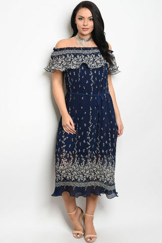 Navy Blue Floral Cold Shoulder Plus Size Maxi Dress