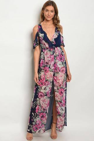 Misses Navy Blue Floral Cold Shoulder Maxi Dress Romper