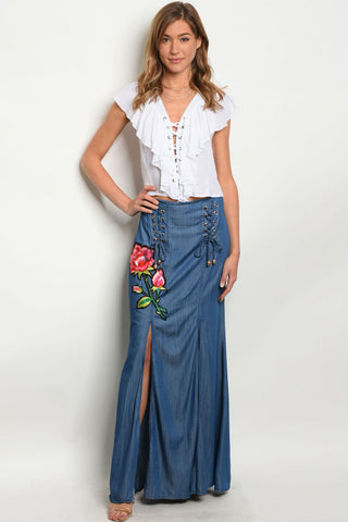 Misses Navy Blue Denim Maxi Skirt with Embroidered Roses