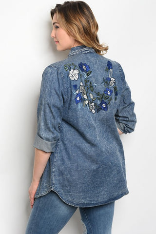 Navy Blue Denim Top with Embroidered Accents