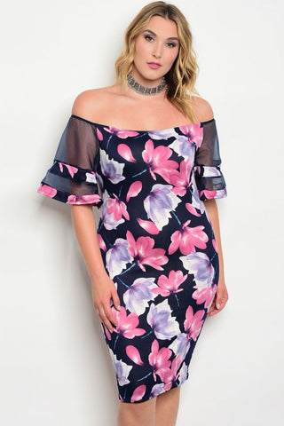 Navy Blue Floral Bodycon Plus Size Dress