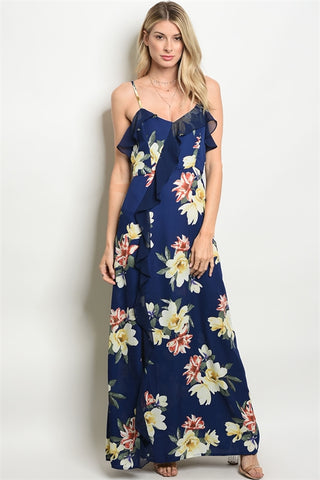 Navy Blue Floral Ruffled Maxi Dress