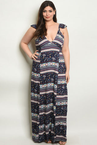 Navy Blue Floral Plus Size Maxi Dress