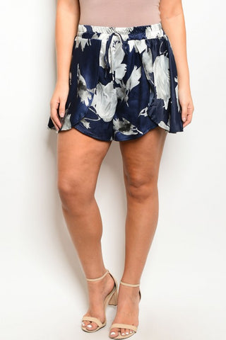 Navy Blue and Gray Floral Plus Size Shorts