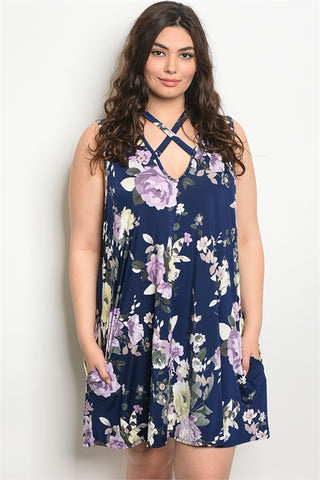 Navy Blue and Purple Floral Plus Size Tunic Dress