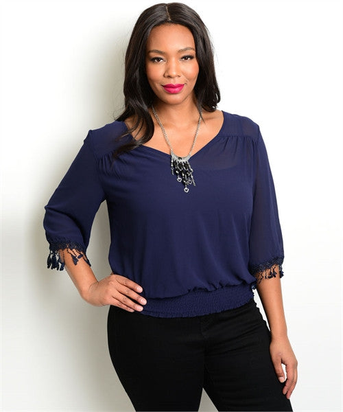 Women's Plus Size Navy Blue Top with Fringe Accent Sleeves