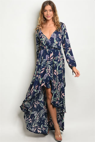 Misses Navy Blue Floral Chiffon High Low Maxi Dress
