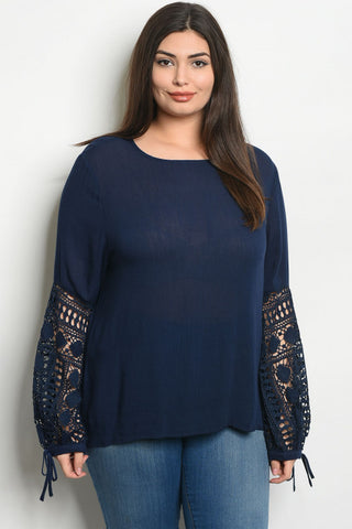 Navy Blue Lace Accent Plus Size Tunic Top