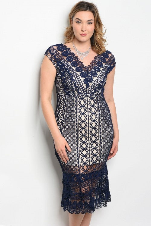 Navy Blue Lace Overlay Mermaid Cut Dress