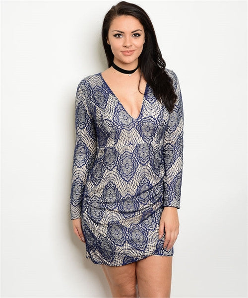 Women's Plus Size Navy Blue Lace Overlay Bodycon Dress