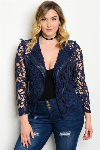 Women's Plus Size Navy Blue Lace Overlay Jacket