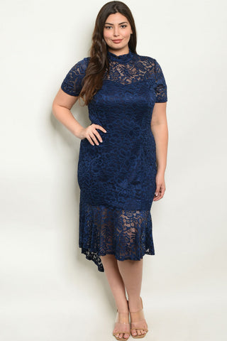 Navy Blue Lace Plus Size High Low Dress