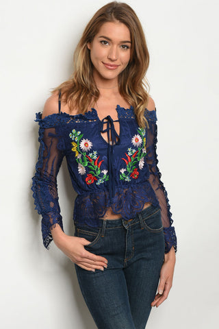 Navey Blue Lace Embroidered Accent Long Sleeve Top