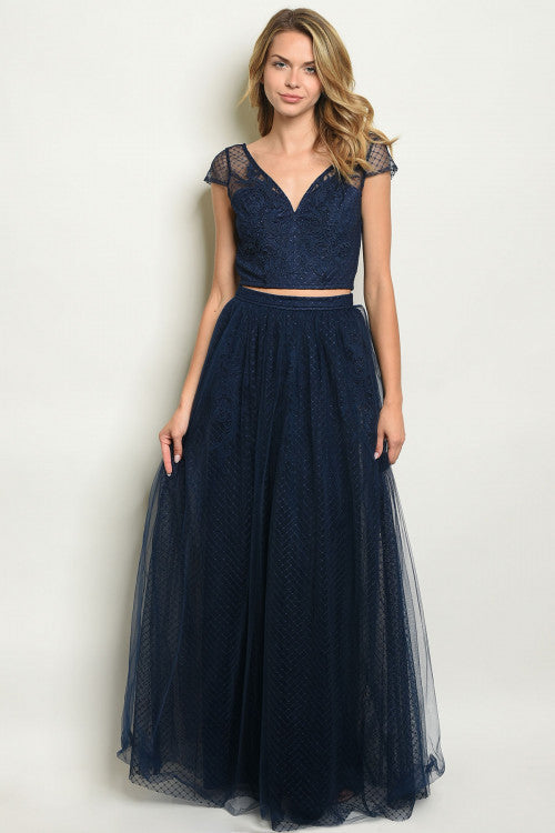 navy blue lace top and skirt set
