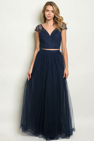 2pc Navy Blue Lace Top and Skirt Set