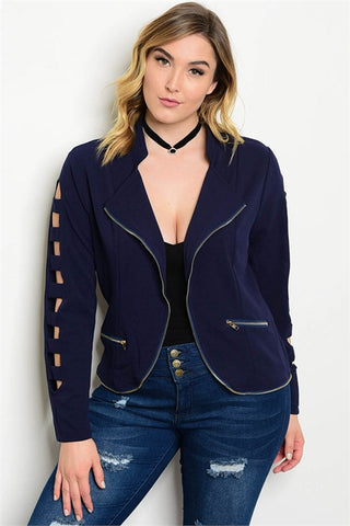 Women's Plus Size Navy Blue Blazer with Cut Out Sleeves