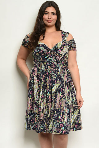 Navy Blue Paisley Print Plus Size Babydoll Dress