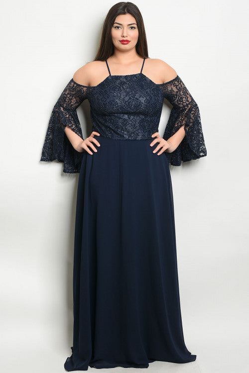 Navy Blue Lace Bell Sleeve Plus Size Evening Gown