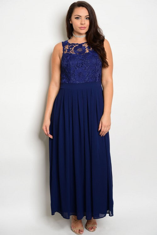 Women's Plus Size Navy Blue Formal Evening Gown with Lace