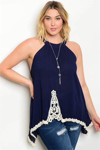Navy Blue with Crocheted Lace Plus Size Halter Top