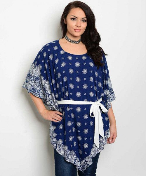 Women's Plus Size Navy Blue and White Flutter Sleeve Kimono Top