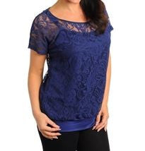 Women's Plus Size Navy Blue Lace Top Lined