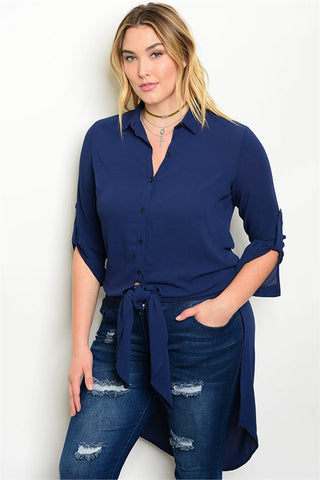 Navy Blue Tie Front Plus Size Long Blouse