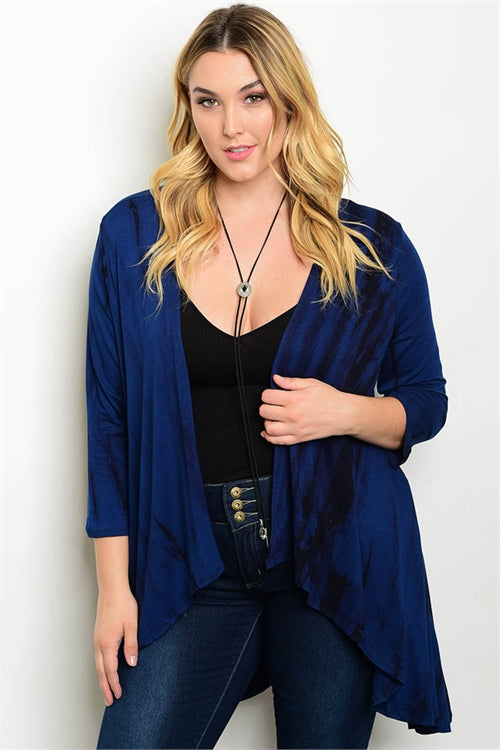 Navy Blue Plus Size Tie Dye Cardigan
