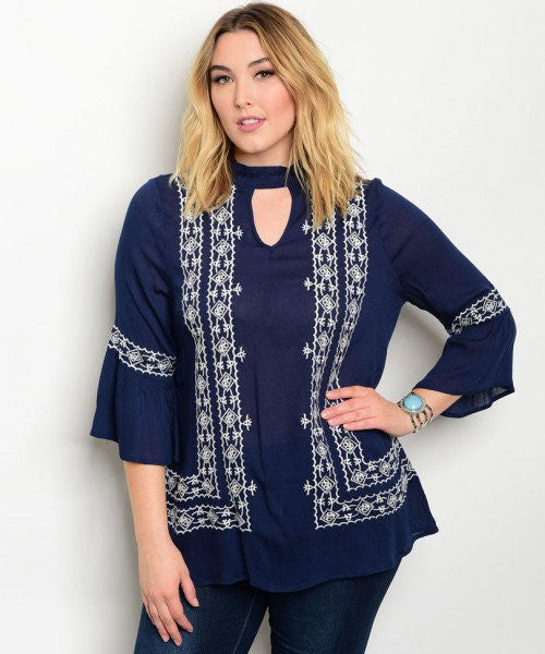 Women's Plus Size Navy Blue and White Bell Sleeve Tunic Top