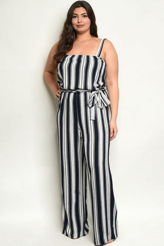 Navy Blue Striped Plus Size Jumpsuit
