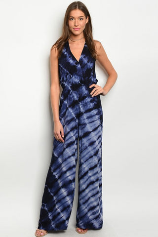 Misses Navy Blue and White Tie Dye Halter Jumpsuit