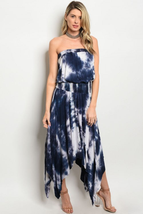 Misses Navy Blue Strapless Tie Dye Maxi Dress