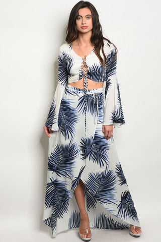 Navy Blue and White Crop Top and Maxi Skirt Set