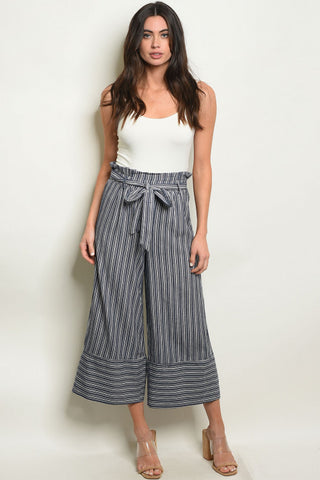 Navy Blue Striped Capri Pants