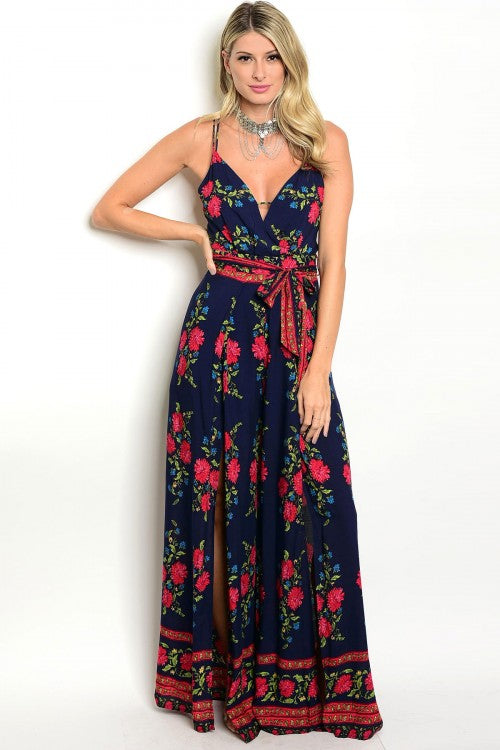 Misses Navy Blue Floral Jumpsuit with Slit Palazzo Bottoms