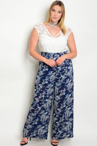 Navy Blue Wide Leg Plus Size Jumpsuit with Lace Bodice