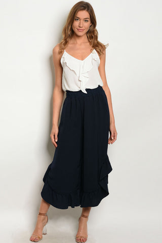 Navy Blue Wide Leg Ruffled Detail Capri Pants
