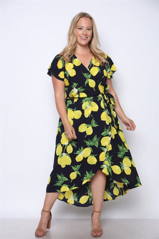 Navy Blue Lemon Print High Low Plus Size Maxi Dress