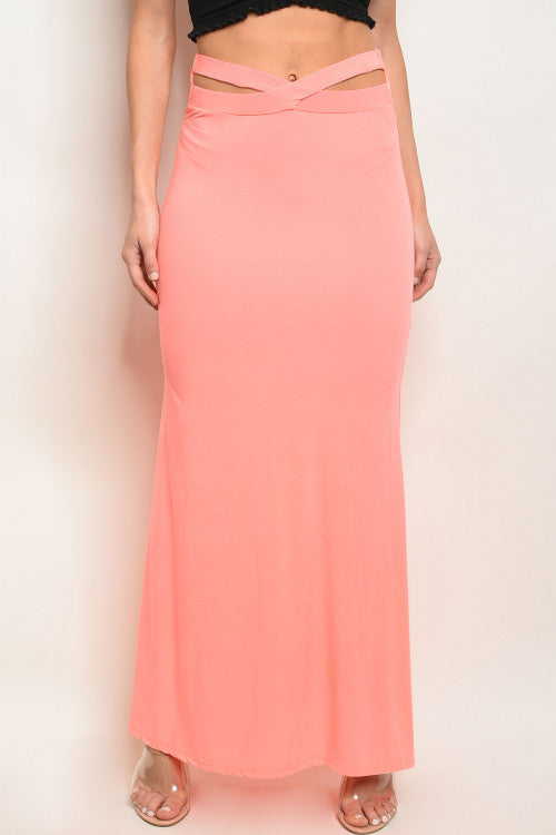 neon coral pink maxi skirt