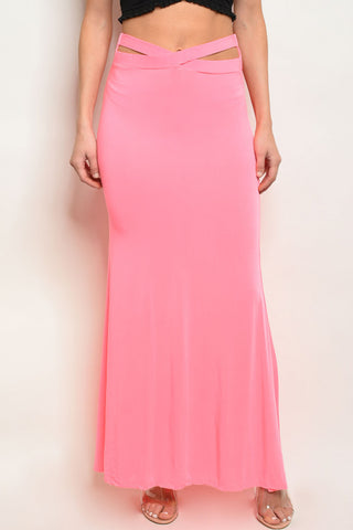 Strappy Neon Pink Maxi Skirt