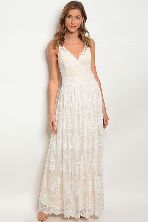 Off White Lace Overlay Babydoll Maxi Dress