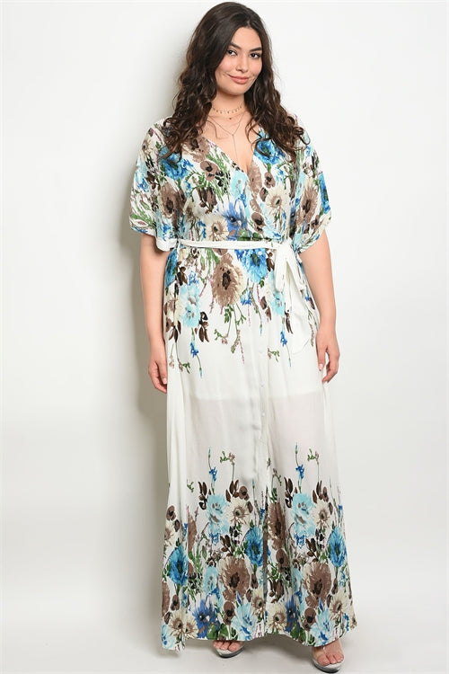 off white floral plus size maxi dress