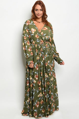 Olive Green Floral Chiffon Plus Size Maxi Dress