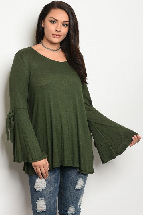Olive Green Jersey Knit Bell Sleeve Plus Size Top