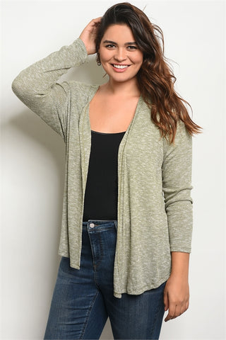 Olive Green Open Front Plus Size Cardigan