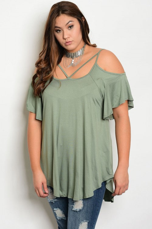 Olive Green Cold Shoulder Jersey Knit Plus Size Top