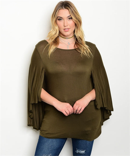 Women's Plus Size Olive Green Cape Sleeve Jersey Knit Top