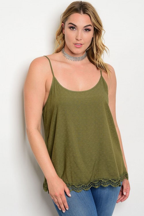 Women's Plus Size Olive Green Lace Bottom Tank Top