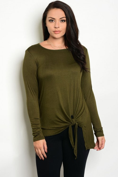 Olive Green Long Sleeve Tie Accent Plus Size Top