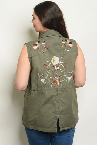 Olive Green Plus Size Embroidered Utility Vest